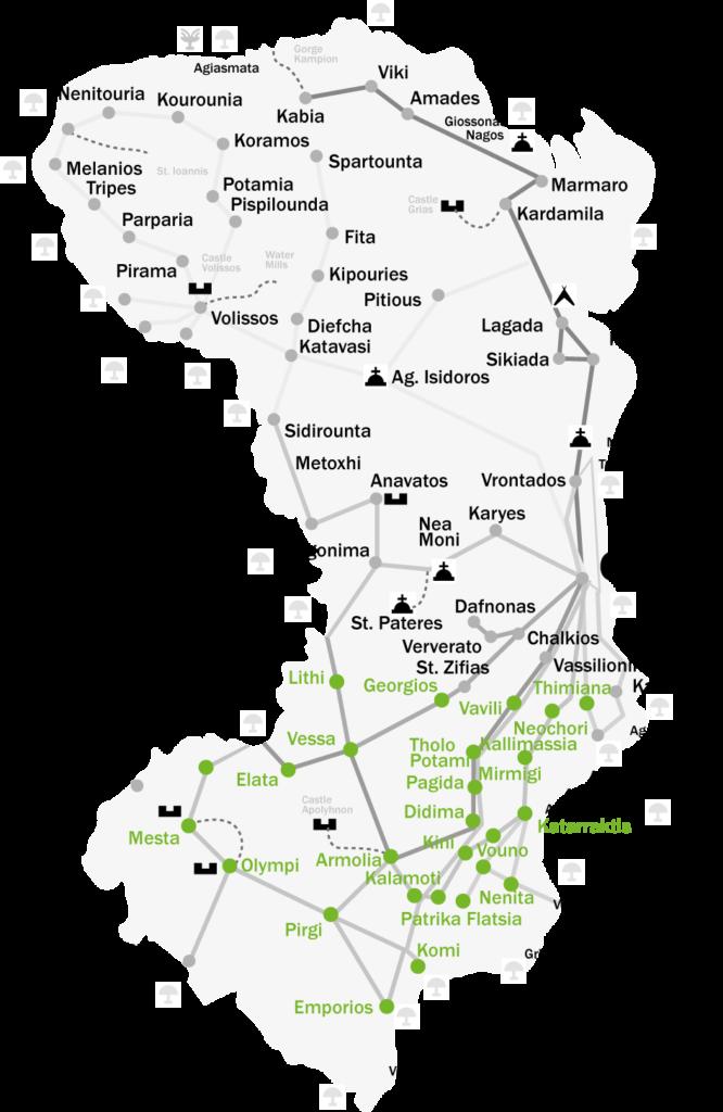 Mapa Chios, Řecko mastichový ostrov
